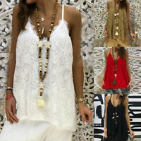 Lace Summer Women's Tank Top A-Line Vest Camisole Sling Blouse Sleeveless Tops