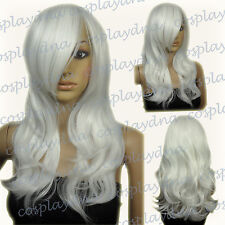 "25"" Heat Resistant White Long Layer Wavy Cosplay Wigs with Side Bangs 66101"