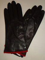 Ladies Red Knit Lined Genuine Leather Gloves, Black,Medium