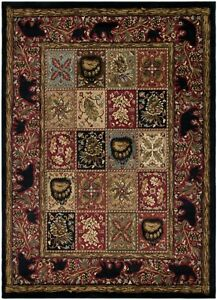 Masters Lodge Area Rug Runner Lodge Cabin Bear Paw Forest Black Red Matching Set