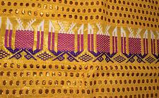 Guatemalan Table Runner Hand-Woven Tapestry - bright yellow w metallic threads