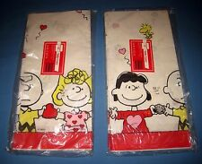 """Lot 2 NOS Paper Table Cover Peanuts Snoopy Charlie Brown 54"""" x 102"""" Made In USA!"""