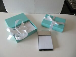 """Tiffany & Co Sterling Silver Paper Notepad Holder  & Box 6""""x3.5""""& Paper refills"""