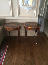 Pair of Vintage Weiman Mahogany Tables each with Leather Top and Drawer