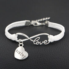 1pc Infinity Love Sister Bracelet Anklet Heart Charm Friendship Sis Jewelry Gift