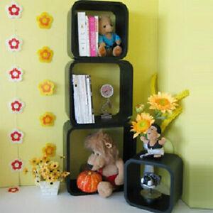 One Black 4 Sizes Cube Wall Shelving Bookcase Floating Shelves Storage Unit New
