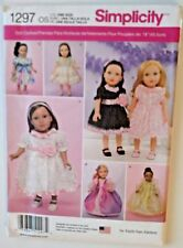"""Simplicity Doll Clothing Sewing Pattern 1297 Seven Dresses for 18"""" Doll UNCUT"""