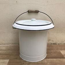 Vintage French Enamel water enameled bucket white toilet bathroom 1509189
