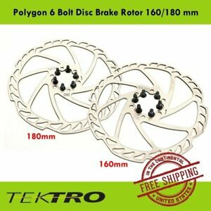 Tektro Polygon 6 Bolt Disc Brake Bike Rotor 160 or 180 mm Road CX Mountain