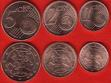 Lithuania euro set (3 coins): 1, 2, 5 cents 2015 UNC