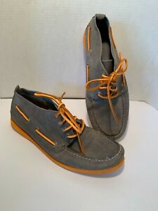 Sperry Top Sider Men's $90 Mid Boat Shoes Size 12 Rust Tan Leather Orange soles