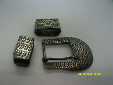 native american sterling silver  beautiful pattern belt buckle and keepers