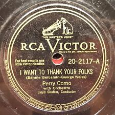 Lot of 3 Very Good 78 Rpm Records of PERRY COMO & HELEN CARROLL Late 1940s