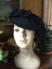 Vintage Antique Black an Wide Grosgrain Bow Tilt 1930's Hat