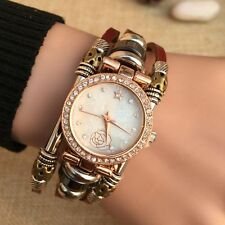 Gorgeous Dress Womens Genuine Leather Bracelet Quartz Analog Wrist Watch #15