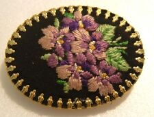 VINTAGE BROOCH PETIT POINT NEEDLE EMBROIDERED PURPLE VIOLET FLOWERS FLORAL PIN
