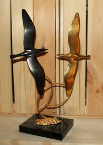 Vintage hand made modernist brass birds statuette with marble base
