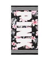 Victoria's Secret Pink Black White Floral Palm Print PINK Logo Beach Towel *NIP