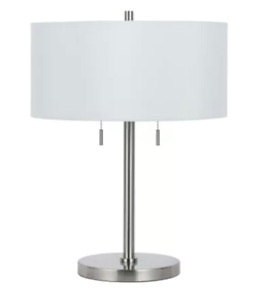 Cal Lighting BO-2450TB-BS Brushed Steel 60W X 2 Calais Metal Table Lamp