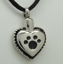 Paw Heart Cremation Urn Necklace || Dog or Cat Ashes Keepsake || Engraveable