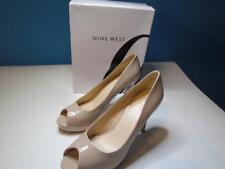 NIB Nine West High Heel Platform Pump Open Toe Natural Patent Sz 10M