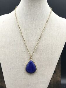 Barse Luster Teardrop Necklace- Lapis- Bronze- New With Tags