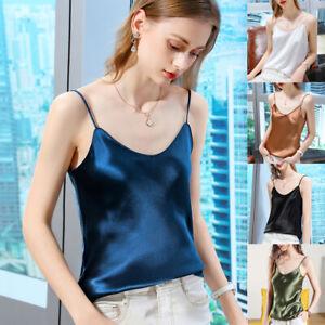 Women Shiny Sexy Basic Satin Silk Tank Camisole V-Neck Sleeveless Summer S-XXL