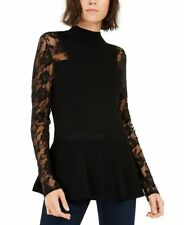 INC Black Floral Laced Sleeve Mock Peplum Sweater Pullover Top Plus Size 1X NEW