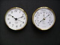 100mm Brass Bezel Insertion Barometer and Sweep Clock set