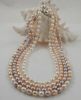 Fine Single-strand Rice Freshwater Pearl Necklace Magnetic Clasp 16''/18''/20''