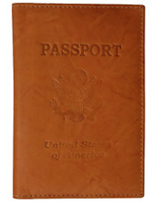 TAN USA PASSPORT PREMIUM COW LEATHER COVER Travel Card Case Wallet New++