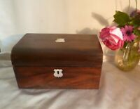 19th Century Victorian Antique Rosewood Box with Domed Lid & Mother of Pearl
