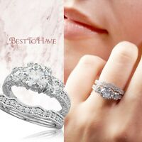 925 Sterling Silver Ladies 3 stone Cubic Zirconia Perfect Match Wedding Ring Set