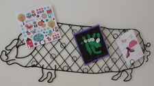 LARGE METAL WALL HANGING PIG CARD PHOTO HOLDER IDEAL FOR CHRISTMAS CARDS