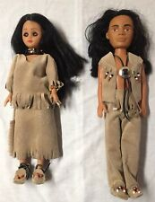 Handmade Pair Indian Rubber Dolls In Detailed Outfits/ Beaded Moccasins
