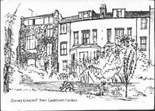 London - Osney Crescent from Cantelowes Gardens, Kentish Town, art card c.1970s
