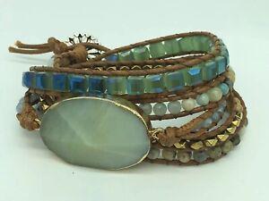 Fashion Women jewelry amazonite crystal Armband wrap Bracelets jewelry gift