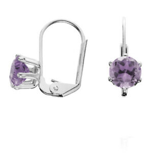 2 CT SIMULATED AMETHYST LEVERBACK EARRINGS IN 18K WHITE Gold Over