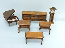 Dollhouse Miniature Living Room Furniture Set 6: Coffee Side Tables Entry Piano