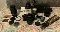 VINTAGE 1980 RICOH KR 10 35mm CAMERA Lot Vivitar Flash Zoom Lens Multiplier 205m