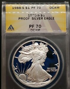 1988-S ANACS PR70 DCAM PROOF American Silver Eagle $1 PF70 TOP EBayer since 2005