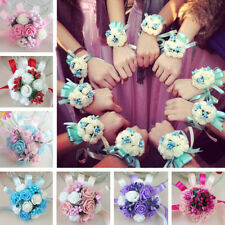 Wedding Party Flower Corsage Bracelet Bridal Bridesmaid Hand Wrist Flowers Decor