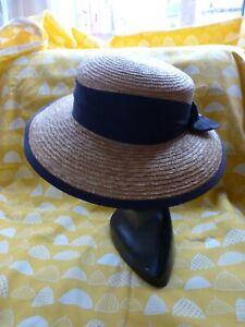 50s womens straw hat wide brim orange Derby hat vintage 1950s Henry Margu hat