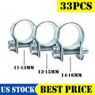 """NEW 33 Pcs 1/4"""" 5/16"""" 3/8"""" Fuel Injection Gas Line Hose Clamps Clip Pipe Clamp"""