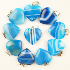 10pcs Sky Blue Onyx Striated Agate Lovely Heart Pendant Bead 20*6mm Wholesale