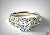 Real 2.03ct Round Brilliant Bridal Diamond Engagement Ring 14k Solid White Gold