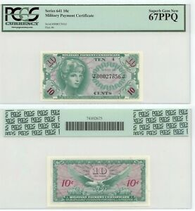 Military Payment Certificate Series 641 MPC PCGS 10 Cents Superb Gem New 67PPQ