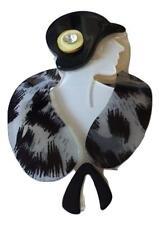 Lucite Flapper Lady Blk Cloche Hat Fur Stole Arts Vintage Deco Pearlized Brooch