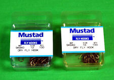 Mustad Fly Tying Hooks 2 boxes of 100 Lot Dry Fly NEW 200 Total No.94840 2 Sizes