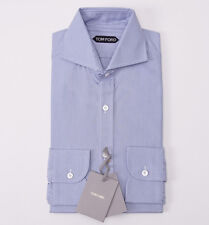 NWT $635 TOM FORD Cutaway Collar Woven Sky Blue Cotton Dress Shirt Slim-Fit 15.5